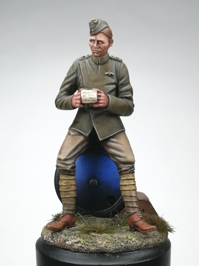 'A letter From Home' RFC Pilot WW1 seated on aircraft wheel. 1/32 scale